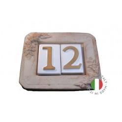 Piastra portanumero in cotto  a 2 numero 18x16x2,5