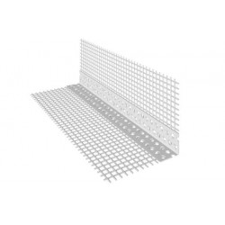 Paraspigolo in PVC con rete in fibra di vetro preincollata mt.2,50