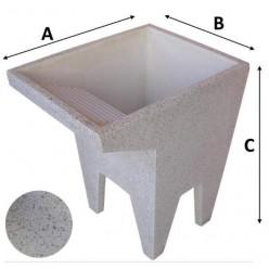 Lavatoio Levigato in Graniglia e Cemento Bianco con Piedi