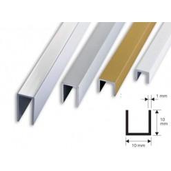 Profilo Canalino a U in Alluminio 10x10x1  mt. 2