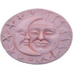 Maschera Sole Luna in Terracotta - Decorazione Bassorilievo