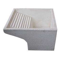 Lavatoio Levigato in Graniglia e Cemento Bianco 56x54x30 cm.