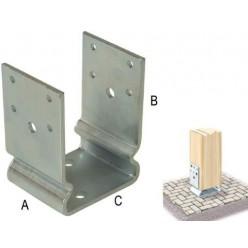 Staffe ad U nervata per pilastri 5 mm - 140x130 - Zincata Bianca